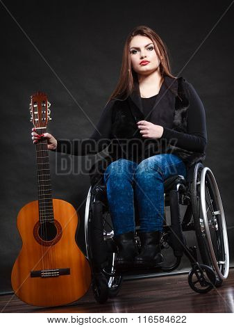 Woman Invalid Girl On Wheelchair With Guitar