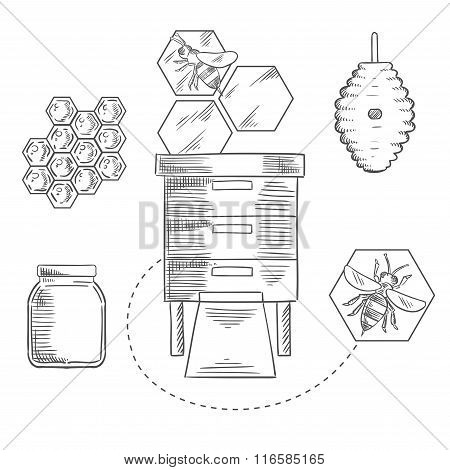 Beekeeping objects with bees and beehives