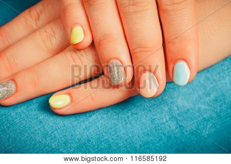 Woman Hands With Color Nail Polish. Manicure.