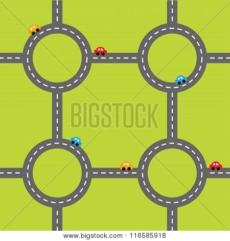 Road White Marking And Cartoon Cars. Circle Round Crossroad Set. Template.  Design Element. Green Gr