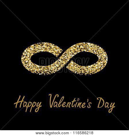 Limitless Red Sign With Heart Symbol. Infinity Icon. Happy Valentines Day. Flat Design. Gold Sparkle