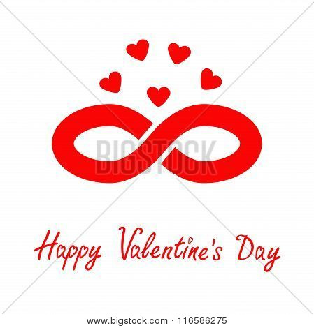 Limitless Red Sign With Heart Symbol. Infinity Icon. Happy Valentines Day. Flat Design. Isolated.