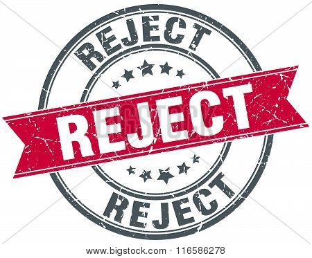 reject red round grunge vintage ribbon stamp