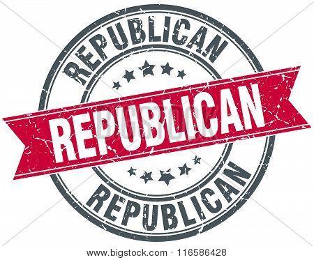 republican red round grunge vintage ribbon stamp