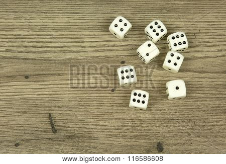 Dice On Old,wooden Table
