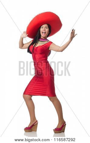 Woman in red dress with sombrero