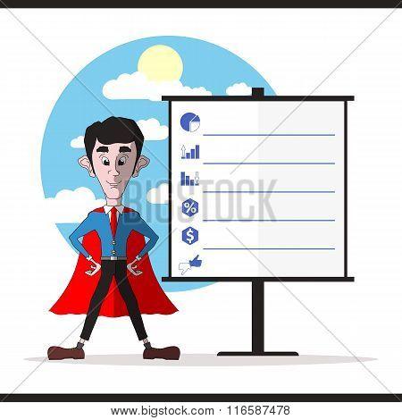Successful Businessman In A Red Cloak