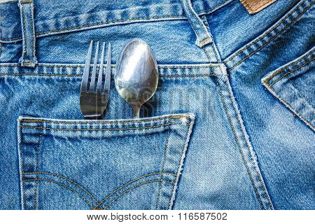 Jeans Bag With Cutlery