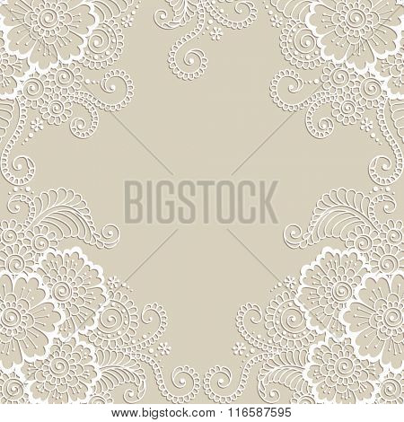 White flower frame, lace ornament.  Love concept for Valentines Day or Wedding design.