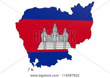 Cambodia Flag Map