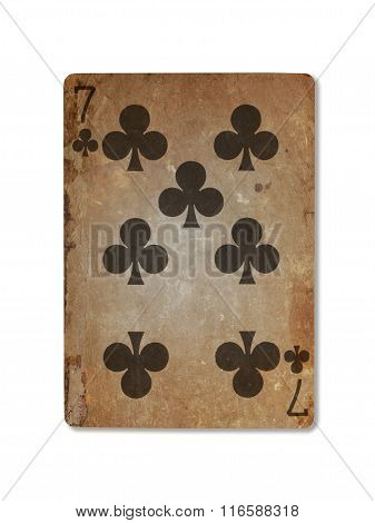 Very Old Playing Card, Seven Of Clubs