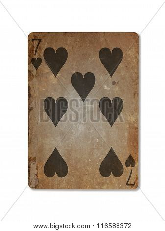 Very Old Playing Card, Seven Of Hearts