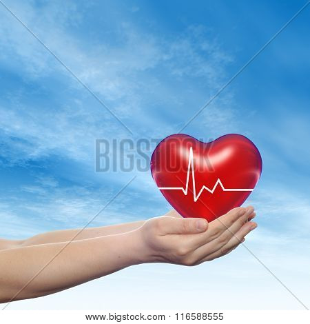 Concept conceptual 3D red human heart sign or symbol held in hum