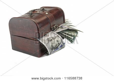 Half Open Wood Box With Dollar Cash Isolated On White