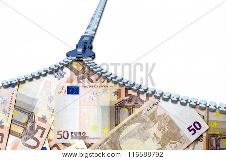 Concept or conceptual 3D metal zipper from to euro money banknotes or cash isolated on white banking background
