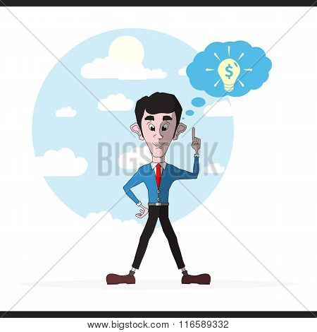 Businessman And Lightbulb Inspirational Idea