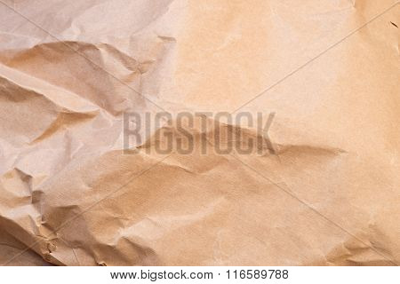 Closeup of brown wrinkled paper background