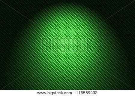 Spotlight On Green Carbon Fiber Background.