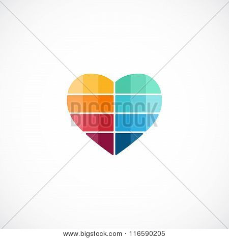 Heart logo template. Modern vector abstract love creative sign or symbol. Design geometric element f