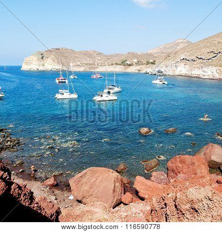 Water   And Mediterranean Coastline Sea Red Beach In Santorini Greece Europe