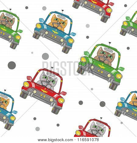 Vector Cartoon Cat on the Car Pattern