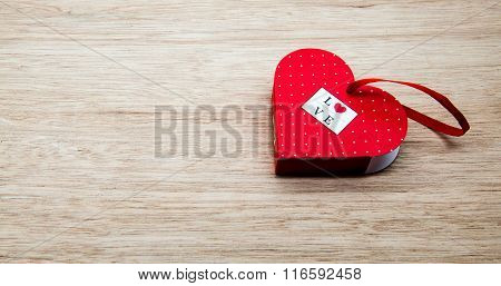 Heart Box For A Present Of Valentines Day