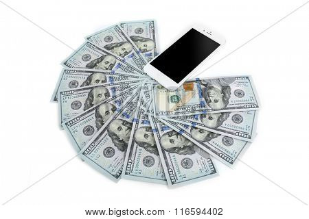 Smart phone with dollar banknotes, isolated on white. Internet earning concept