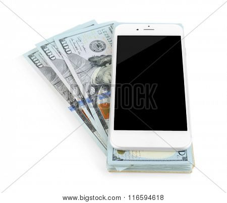 Smart phone on dollar banknotes, isolated on white. Internet earning concept