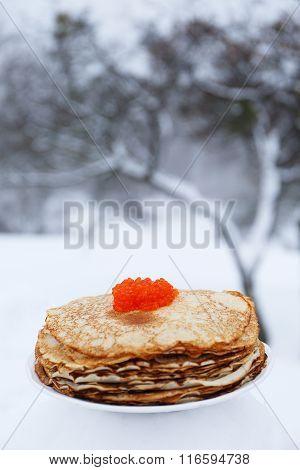 pancakes and red caviar