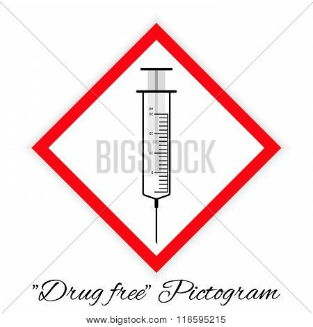 Drug Free Pictogram, Black And White