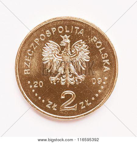 Polish 2 Zloti Coin Vintage