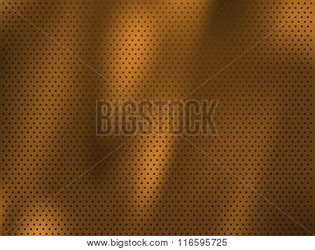 Circle perforated golden metal background
