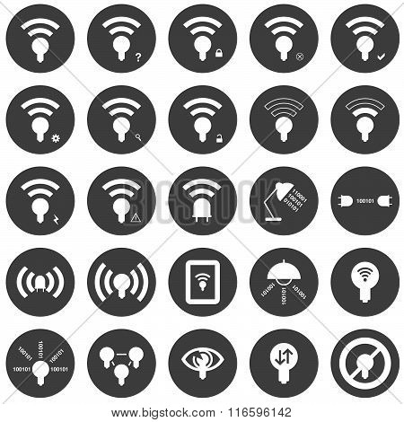 Lifi icon set with 25 different circular Lifi icons in white