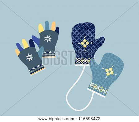 Winter Mittens in Soft Vintage Colors. Gloves
