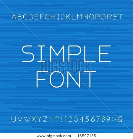 Simple Linear style alphabet vector font