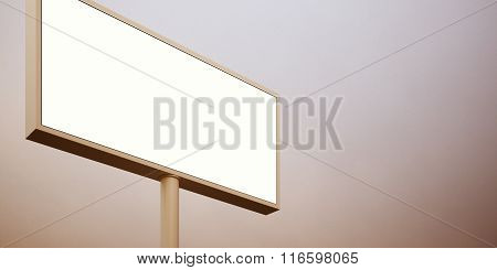 Blank billboard sign in sunset sky. Wide, abstract background. 3d render