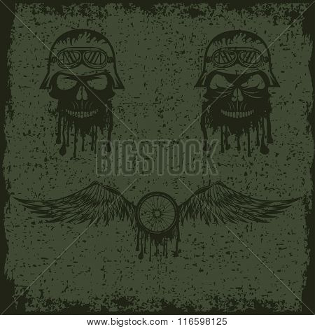 Grunge Biker Theme Labels With Wheel,bike And Skulls With Wings