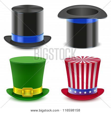 Set hat magician cylinder. Uncle Sams hat