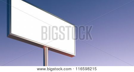 Blank billboard made of chrome metal at sunset time ready for advertisement. Wide, abstract backgrou