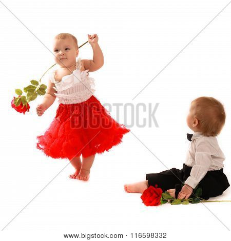 Girl Red Skirt Rose Dance And  Boy ,couple  Love, Valentine's Day