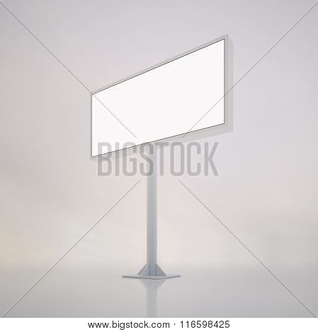 Blank white billboard with space for your advertisement against abstract background. Vertical. 3d re