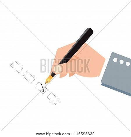 Human Hand Holding An Ink Pen And Check Boxes.