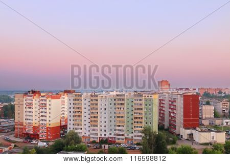 Evening View Of Residential Area And Beautiful Pink Sky During Sunset