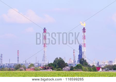 Green Field And Big Oil Refinery With Pipes And Gas Torch At Summer Day