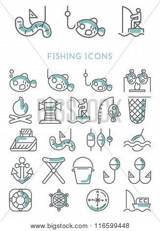 Fishing Icons set design