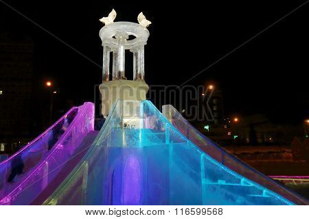 Perm, Russia - Jan 26, 2015: Ice Slide With Illumination In Ice Town