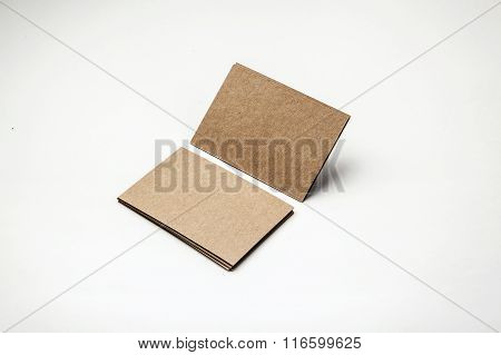 Craft business cards on a white background. Identity design, corporate templates, company style. Hor