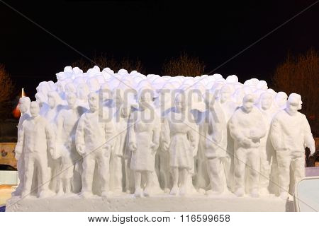 Perm, Russia - Jan 26, 2015: Snow Sculpture People In Ice Town