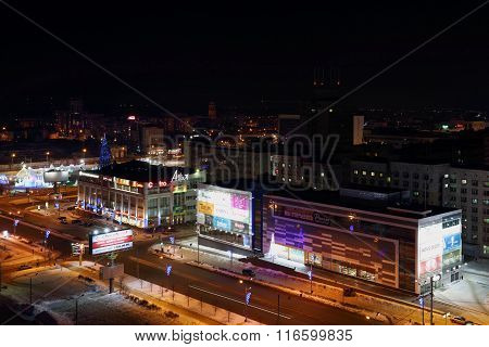 Perm, Russia - Feb 01, 2015: Shopping Complex Iceberg Modern At Night