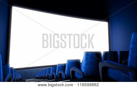 Empty cinema screen with blue seats. Wide. 3d render